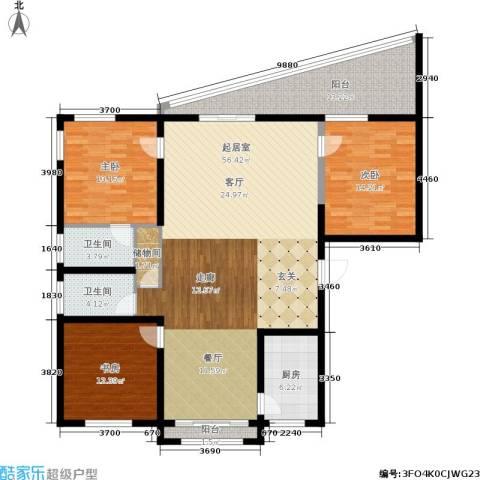 新城国际3室0厅2卫1厨143.00㎡户型图