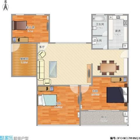 欧风花都3室1厅2卫1厨121.00㎡户型图