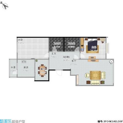 太阳大厦2室1厅2卫1厨140.50㎡户型图