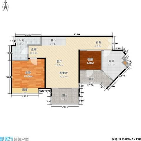 东方新世界2室1厅1卫1厨96.00㎡户型图