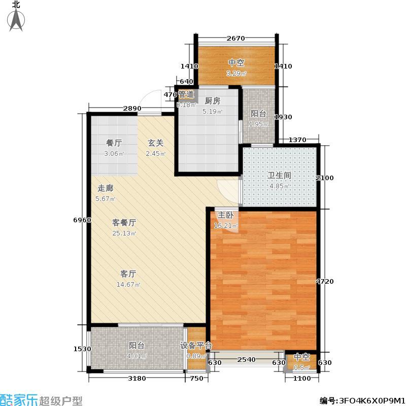 保利家园B房型一房二厅一卫约68平户型