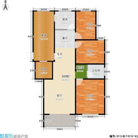 阳光嘉苑3室1厅1卫1厨110.00㎡户型图