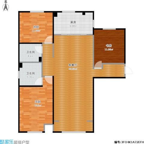 中海外滩3室1厅2卫1厨143.00㎡户型图