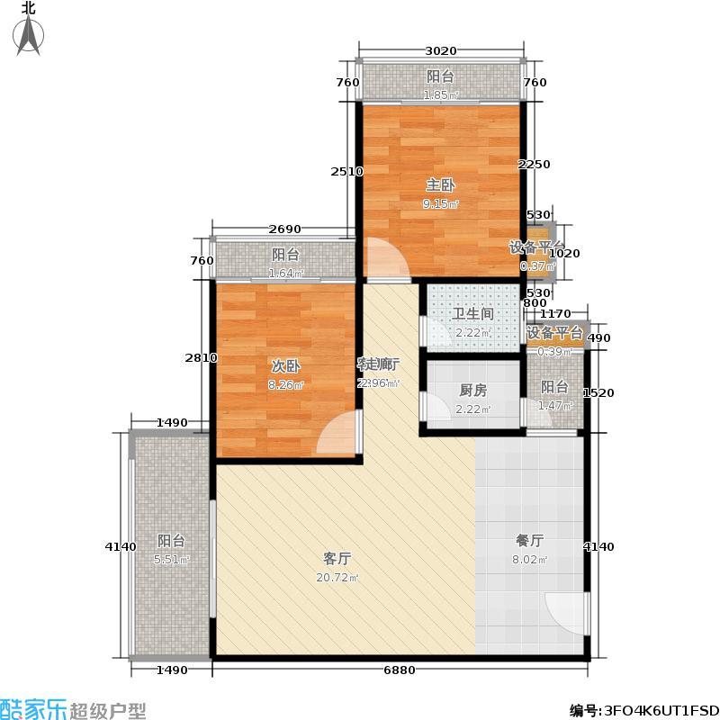 领秀一方81.88㎡二房二厅一卫户型2室2厅1卫