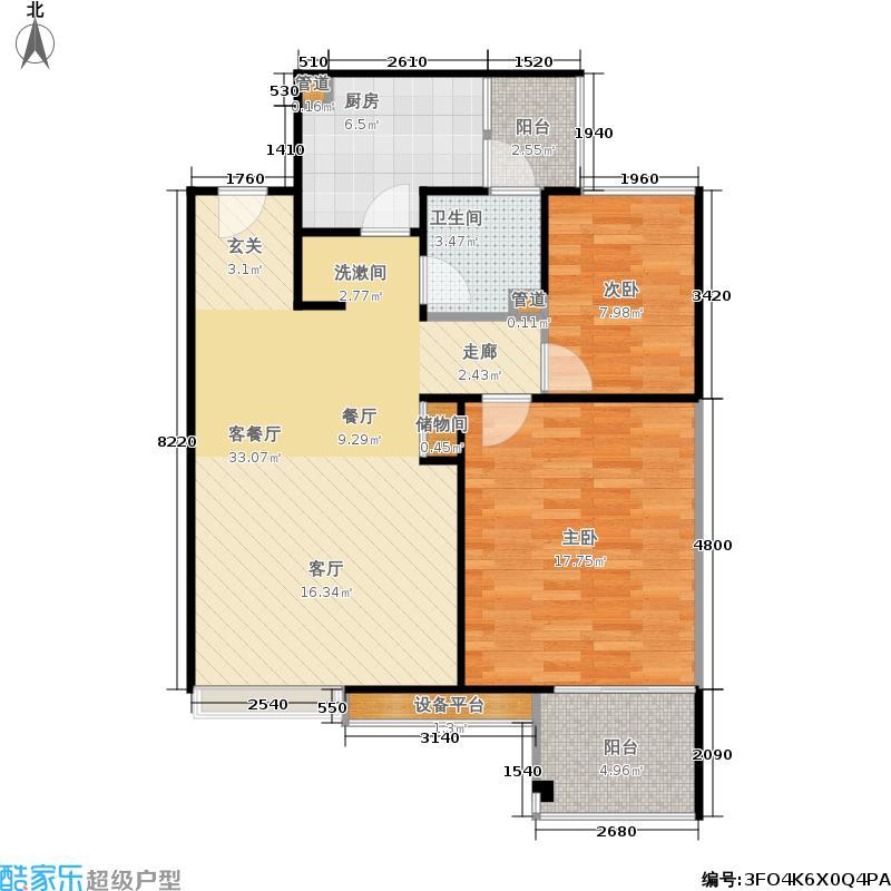 保利家园80.00㎡二房二厅一卫-84.32平方米-100套-嘉定房地(2009)预字0193号户型