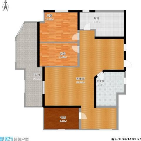 万代财富广场3室1厅1卫1厨190.00㎡户型图