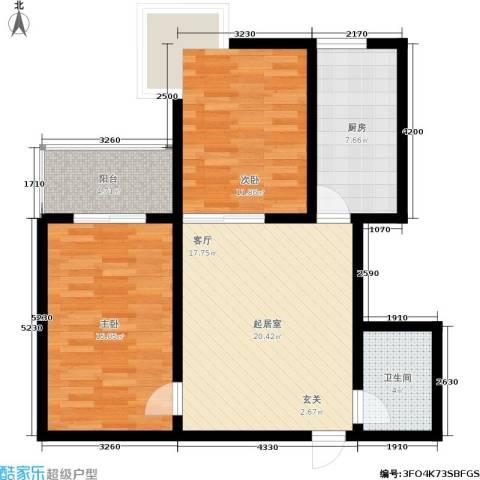 欣欣家园2室0厅1卫1厨91.00㎡户型图