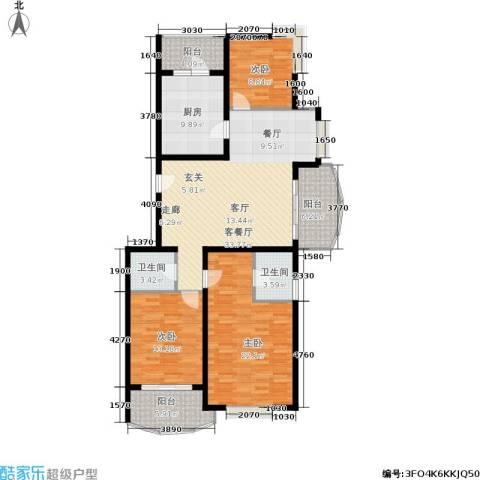 鸿发家园二期3室1厅2卫1厨156.00㎡户型图