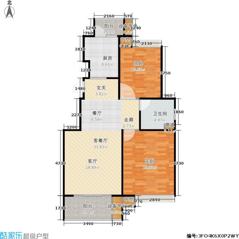 保利家园C房型型二房二厅一卫约88平户型