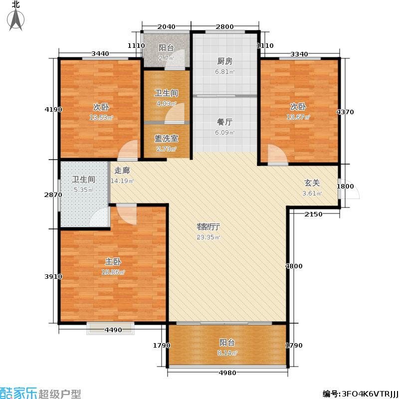 华夏明珠户型3室1厅2卫1厨