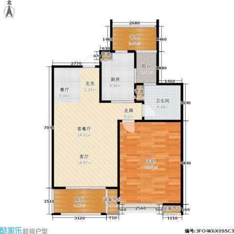 保利家园1室1厅1卫1厨85.00㎡户型图