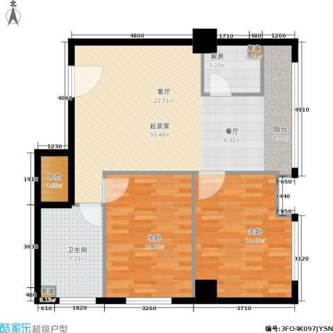 小寨金莎2室0厅1卫1厨104.00㎡户型图
