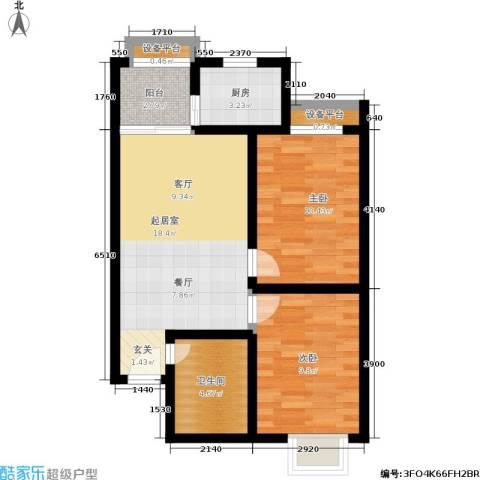 晶筑逸品2室0厅1卫1厨79.00㎡户型图