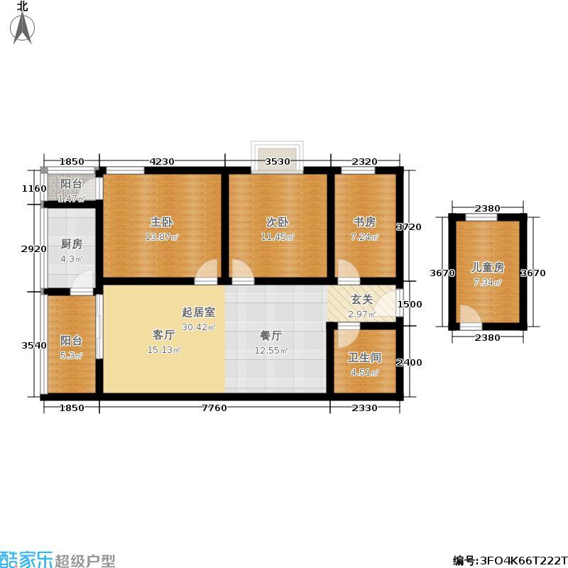 晶筑逸品108.65㎡晶筑逸品户型图F户型三室两厅一卫(2/7张)户型3室2厅1卫