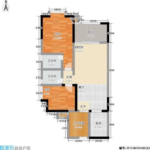 圣湖天域二期2室0厅2卫1厨84.00㎡户型图
