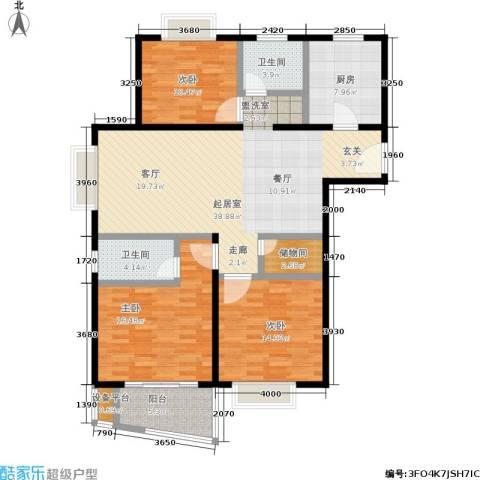 杉林新月家园3室0厅2卫1厨104.52㎡户型图