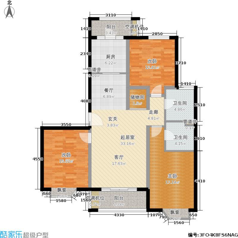 绿地崴廉公寓122.00㎡房型: 三房; 面积段: 122 -207.61 平方米; 户型