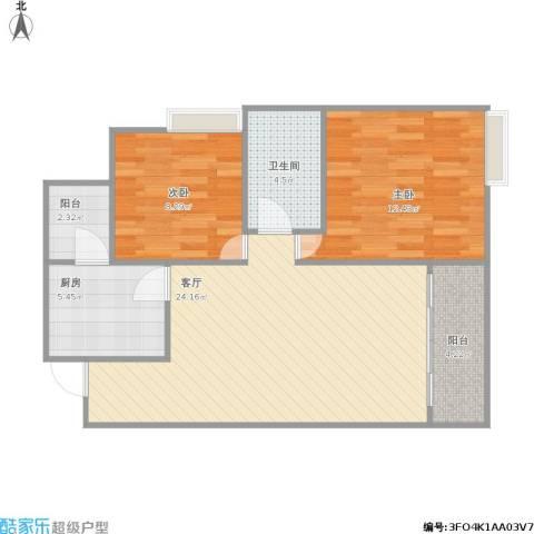 龙洲湾机关单位小区2室1厅1卫1厨83.00㎡户型图