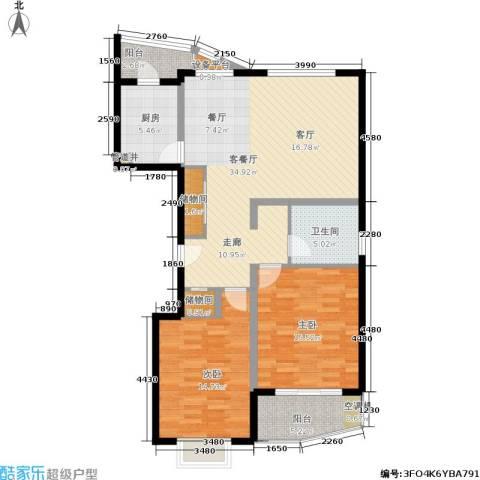 夏阳湖国际花园2室1厅1卫1厨97.00㎡户型图
