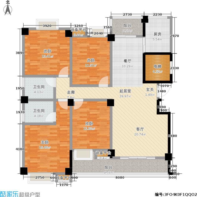 东厦东港花苑153.00㎡一期标准层F户型