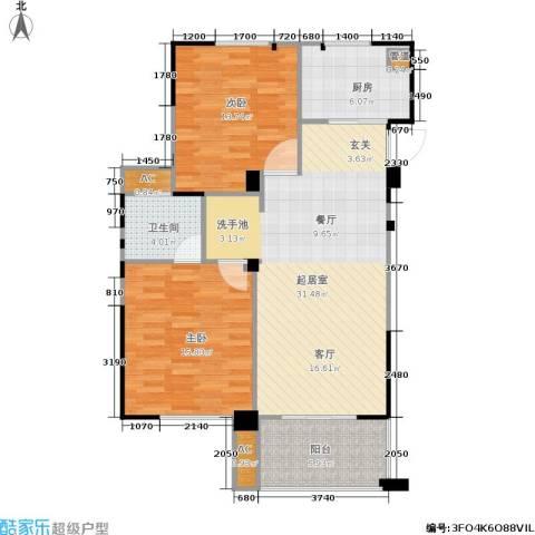 长江国际花园二期2室0厅1卫1厨87.00㎡户型图