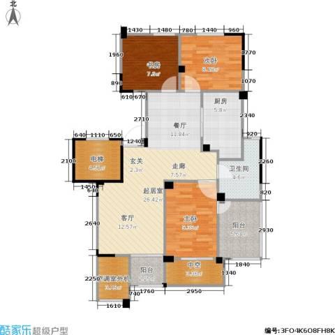 长江国际花园二期3室0厅1卫1厨89.00㎡户型图