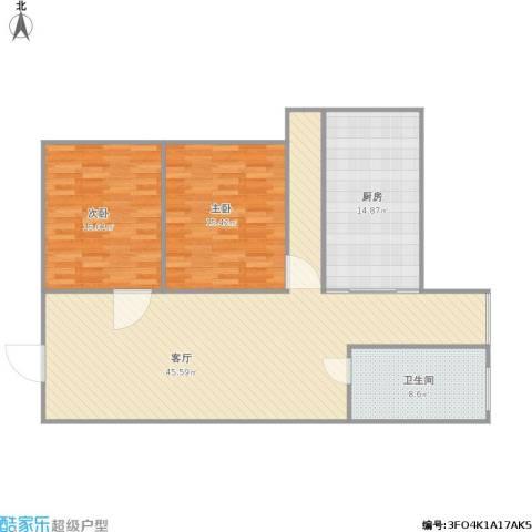 盛世江南2室1厅1卫1厨132.00㎡户型图