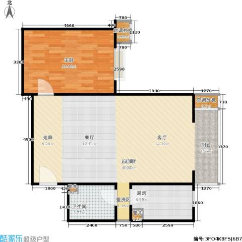 CBD总部公寓1室0厅1卫1厨84.00㎡户型图
