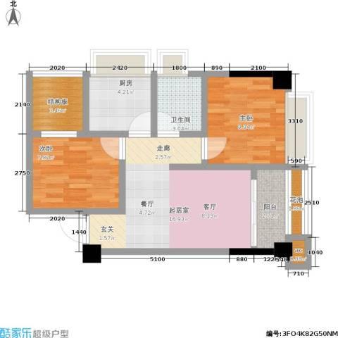 云鼎公馆2室0厅1卫1厨71.00㎡户型图