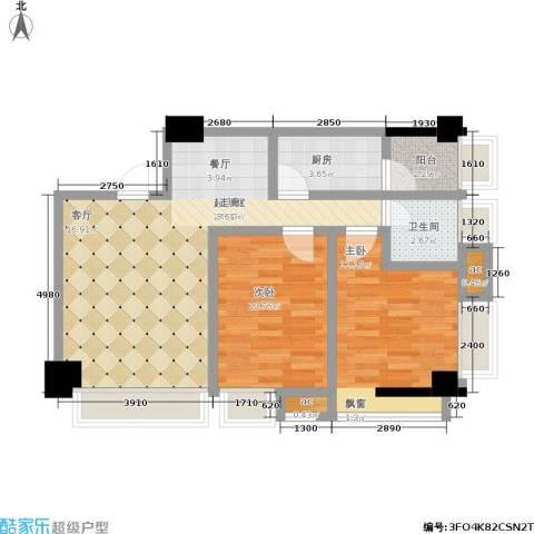 云鼎公馆2室0厅1卫1厨88.00㎡户型图