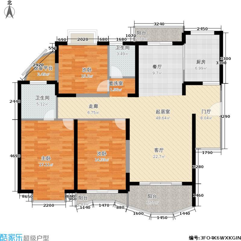 宇泰景苑135.24㎡房型: 三房; 面积段: 135.24 -140.7 平方米;户型