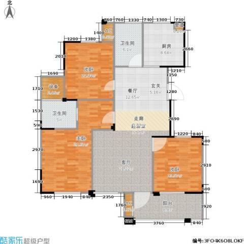长江国际花园二期3室0厅2卫1厨130.00㎡户型图