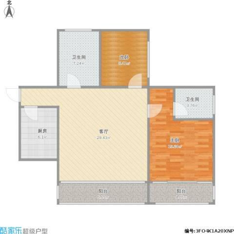 聚福园2室1厅2卫1厨108.00㎡户型图