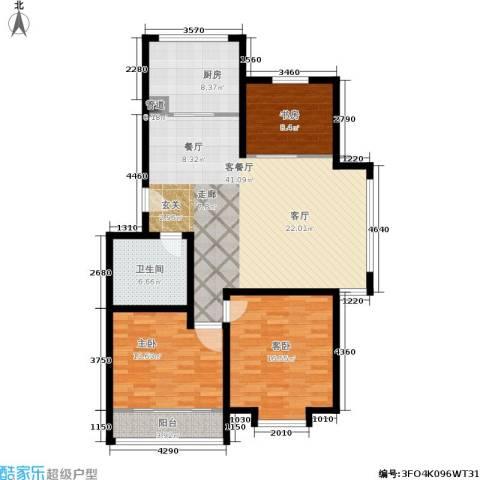 御景山庄3室1厅1卫1厨98.80㎡户型图