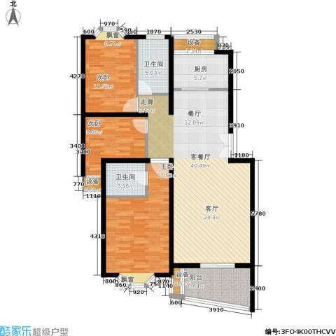 香榭里花园3室1厅2卫1厨116.00㎡户型图
