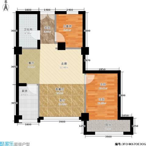 长江杰座2室1厅1卫1厨83.00㎡户型图