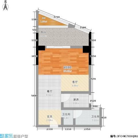 汇富中心1卫1厨47.00㎡户型图