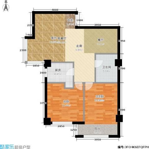 长江杰座2室1厅1卫1厨96.00㎡户型图