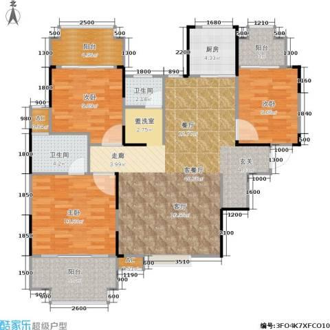 东方新城3室1厅2卫1厨114.00㎡户型图