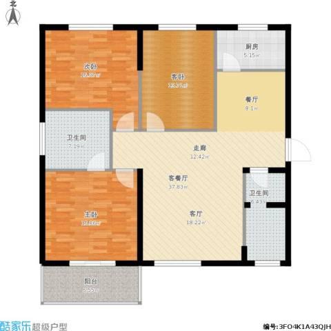 滨河御园3室1厅2卫1厨149.00㎡户型图