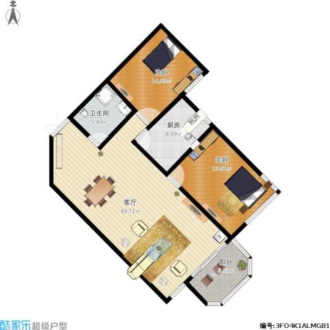dfhsdfgdr2室1厅1卫1厨142.00㎡户型图