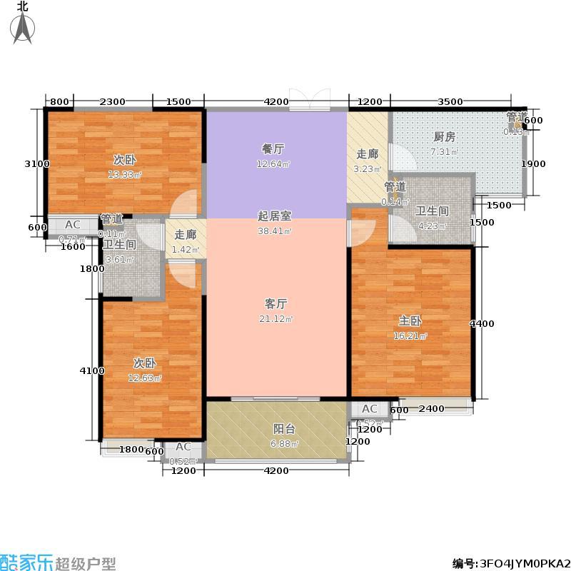 中国铁建国际城128.00㎡10、11#楼B4户型