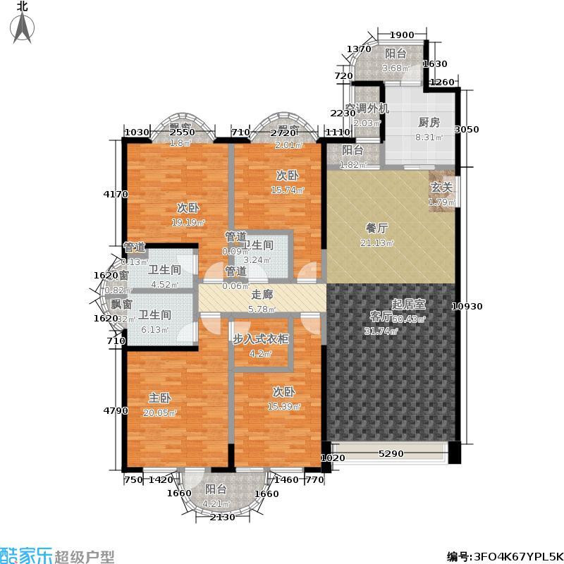 豪景苑190.00㎡四房二厅三卫-193平方米-23套户型