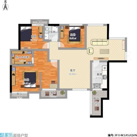 中天会展城3室1厅1卫1厨151.00㎡户型图