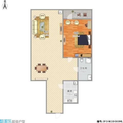 花园小区1室1厅1卫1厨157.00㎡户型图