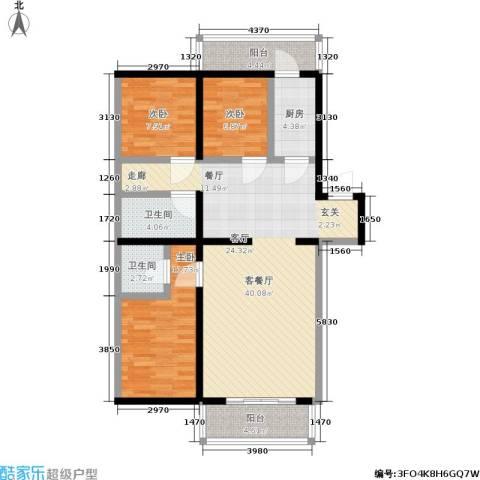 密西花园小区3室1厅2卫1厨102.00㎡户型图