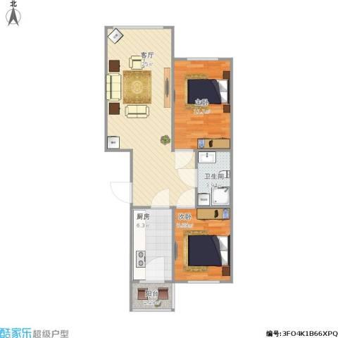 明光水岸2室1厅1卫1厨78.00㎡户型图