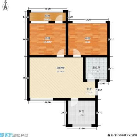 山水人家2室0厅1卫1厨80.00㎡户型图