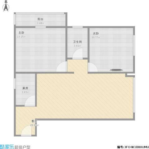 百花家园2室1厅1卫1厨84.00㎡户型图