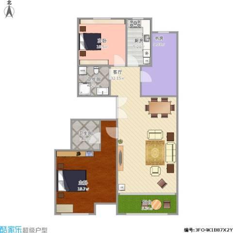 百旺茉莉园3室1厅2卫1厨121.00㎡户型图